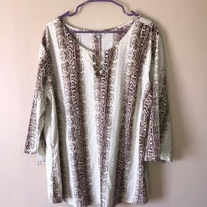 MPH Collection plus size 3X snake skin print tunic